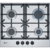 Neff T26DS49N0 Gas Hob 60cm Stainless Steel 4 Burner Heavy Duty Cast Iron Pan Supports