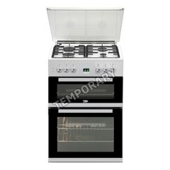 Beko EDG6L33W Freestanding Double Oven Gas Cooker 60cm Wide With Glass Lid