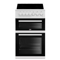 Beko EDVC503W Freestanding Double Electric Oven with Ceramic Hob In White