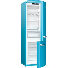 Gorenje ONRK193BL Retro Fridge freezer with fan assisted cooling in the fridge Right Hand Hinge Baby Blue Frost Free