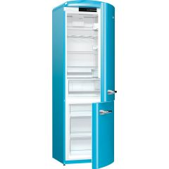 Gorenje ORK193BL Retro Fridge freezer with fan assisted cooling in the fridge Right Hand Hinge Baby Blue