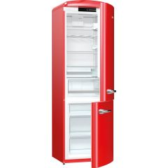 Gorenje ORK193RD Retro Fridge freezer with fan assisted cooling in the fridge Right Hand Hinge Fire Red