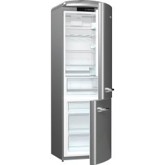 Gorenje ORK193X Retro Fridge freezer with fan assisted cooling in the fridge Right Hand Hinge Silver