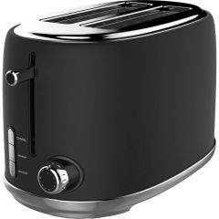 Linsar KY865BLACK KY865Black 2 Slice Toaster, 6 Heat Settings, Cancel/Reheat/Defrost, 680-810W, Remo