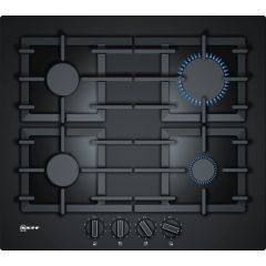 Neff T26CS49S0 Gas Hob Black Tempered Glass With Flame Select Heavy Duty Cast Iron Pan Supports