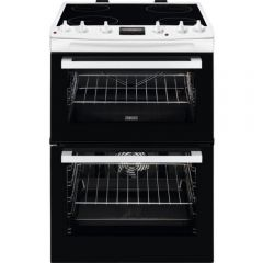 Zanussi ZCV66078WA ZCV66078WA 60cm Double Oven Electric Cooker A Energy Rated, Main Oven 77 Litre Ca
